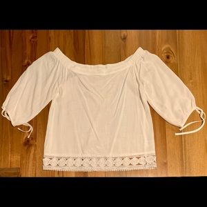 Greylin of the shoulder linen blouse